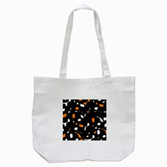 Orange, Black And White Pattern Tote Bag (white) by Valentinaart