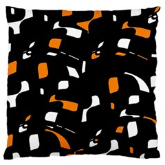 Orange, Black And White Pattern Large Flano Cushion Case (two Sides) by Valentinaart