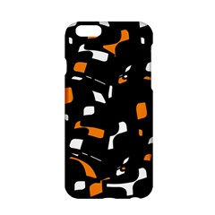 Orange, Black And White Pattern Apple Iphone 6/6s Hardshell Case by Valentinaart