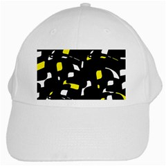Yellow, Black And White Pattern White Cap by Valentinaart