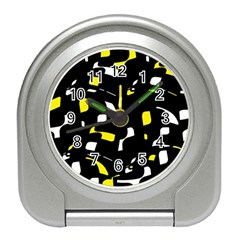 Yellow, Black And White Pattern Travel Alarm Clocks by Valentinaart