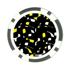 Yellow, Black And White Pattern Poker Chip Card Guards by Valentinaart