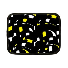 Yellow, Black And White Pattern Netbook Case (small)  by Valentinaart