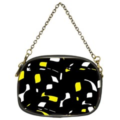 Yellow, Black And White Pattern Chain Purses (one Side)  by Valentinaart