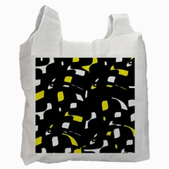 Yellow, Black And White Pattern Recycle Bag (one Side) by Valentinaart