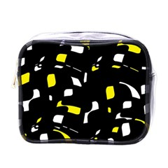 Yellow, Black And White Pattern Mini Toiletries Bags by Valentinaart