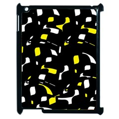 Yellow, Black And White Pattern Apple Ipad 2 Case (black) by Valentinaart