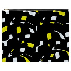 Yellow, Black And White Pattern Cosmetic Bag (xxxl)  by Valentinaart