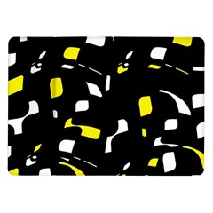 Yellow, Black And White Pattern Samsung Galaxy Tab 10 1  P7500 Flip Case by Valentinaart