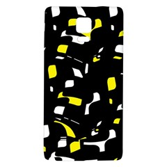 Yellow, Black And White Pattern Galaxy Note 4 Back Case by Valentinaart