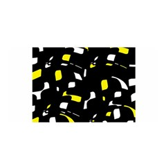 Yellow, Black And White Pattern Satin Wrap by Valentinaart