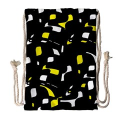 Yellow, Black And White Pattern Drawstring Bag (large) by Valentinaart