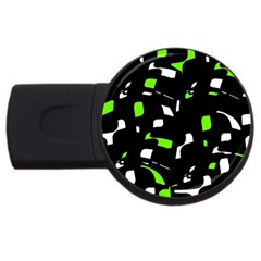 Green, Black And White Pattern Usb Flash Drive Round (2 Gb)  by Valentinaart
