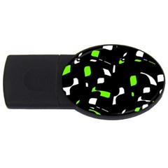 Green, Black And White Pattern Usb Flash Drive Oval (4 Gb)  by Valentinaart