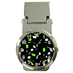 Green, Black And White Pattern Money Clip Watches by Valentinaart