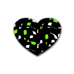 Green, Black And White Pattern Heart Coaster (4 Pack)  by Valentinaart
