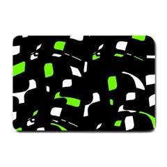 Green, Black And White Pattern Small Doormat  by Valentinaart
