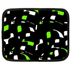 Green, Black And White Pattern Netbook Case (xl)  by Valentinaart