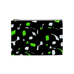 Green, Black And White Pattern Cosmetic Bag (medium)  by Valentinaart