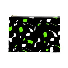 Green, Black And White Pattern Cosmetic Bag (large)  by Valentinaart
