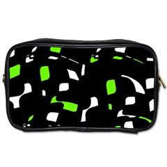 Green, Black And White Pattern Toiletries Bags 2 Side by Valentinaart