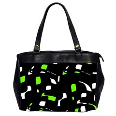 Green, Black And White Pattern Office Handbags (2 Sides)  by Valentinaart
