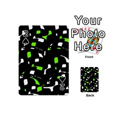 Green, Black And White Pattern Playing Cards 54 (mini)  by Valentinaart