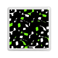 Green, Black And White Pattern Memory Card Reader (square)  by Valentinaart