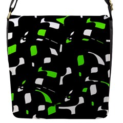 Green, Black And White Pattern Flap Messenger Bag (s) by Valentinaart