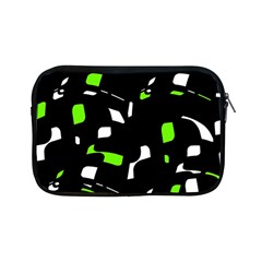 Green, Black And White Pattern Apple Ipad Mini Zipper Cases by Valentinaart