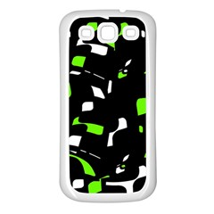 Green, Black And White Pattern Samsung Galaxy S3 Back Case (white) by Valentinaart