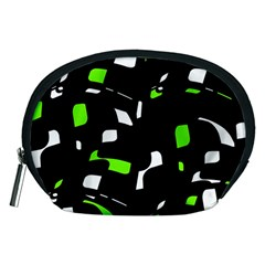 Green, Black And White Pattern Accessory Pouches (medium)  by Valentinaart