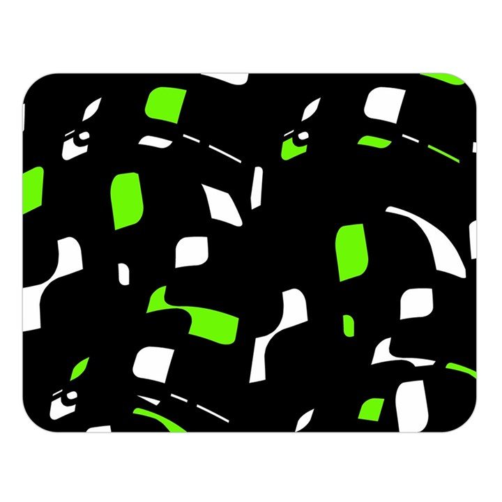 Green, black and white pattern Double Sided Flano Blanket (Large)