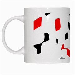 White, Red And Black Pattern White Mugs by Valentinaart