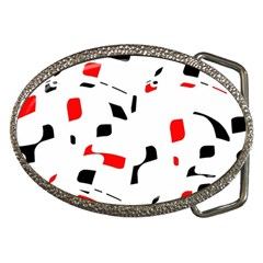White, Red And Black Pattern Belt Buckles by Valentinaart