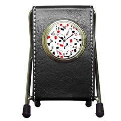 White, Red And Black Pattern Pen Holder Desk Clocks by Valentinaart