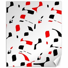 White, Red And Black Pattern Canvas 8  X 10  by Valentinaart