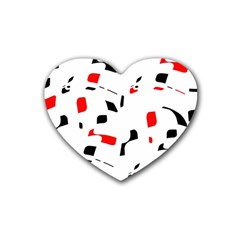 White, Red And Black Pattern Rubber Coaster (heart)  by Valentinaart