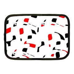 White, Red And Black Pattern Netbook Case (medium)  by Valentinaart
