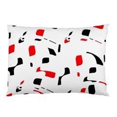 White, Red And Black Pattern Pillow Case (two Sides) by Valentinaart