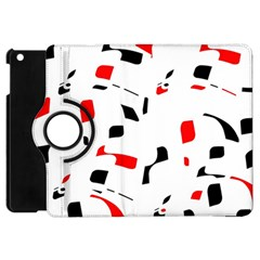White, Red And Black Pattern Apple Ipad Mini Flip 360 Case by Valentinaart
