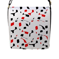 White, Red And Black Pattern Flap Messenger Bag (l)  by Valentinaart