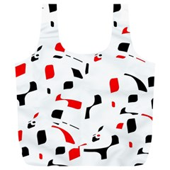 White, Red And Black Pattern Full Print Recycle Bags (l)  by Valentinaart