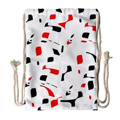 White, Red And Black Pattern Drawstring Bag (large) by Valentinaart