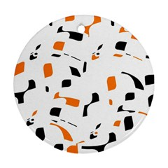 Orange, White And Black Pattern Round Ornament (two Sides)  by Valentinaart
