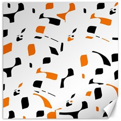 Orange, White And Black Pattern Canvas 12  X 12   by Valentinaart