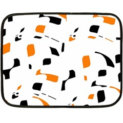Orange, White And Black Pattern Double Sided Fleece Blanket (mini)  by Valentinaart