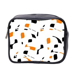 Orange, White And Black Pattern Mini Toiletries Bag 2 Side by Valentinaart