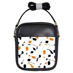 Orange, White And Black Pattern Girls Sling Bags by Valentinaart