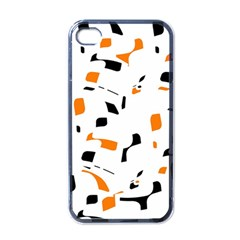Orange, White And Black Pattern Apple Iphone 4 Case (black) by Valentinaart